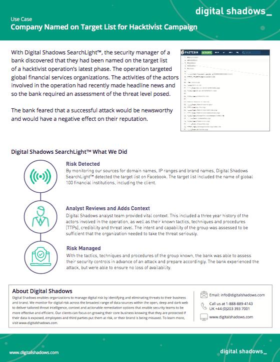 Digital Shadows Case Study Hacktivist Campaign