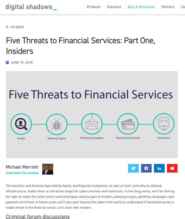 Cyber Threats to Financial Services
