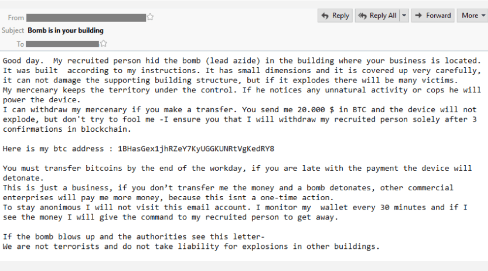 Bomb Threat Emails: Extortion Gets Physical