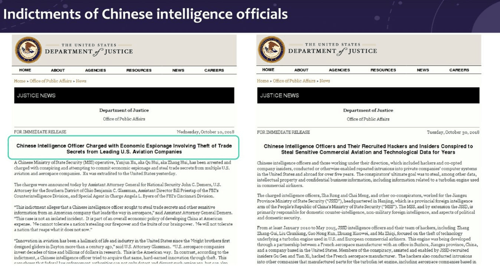 Indictments of Chinese intelligence officials
