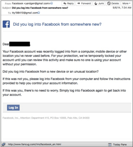 Phishing email impersonating facebook figure 1