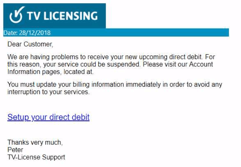 Example of TV license scam email