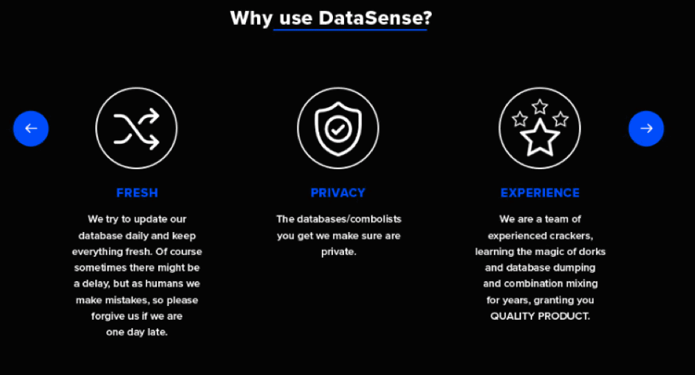 DataSense advertisement on cracking forum