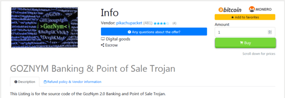 Goznym banking trojan for sale