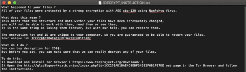 NamPoHyu ransomware message