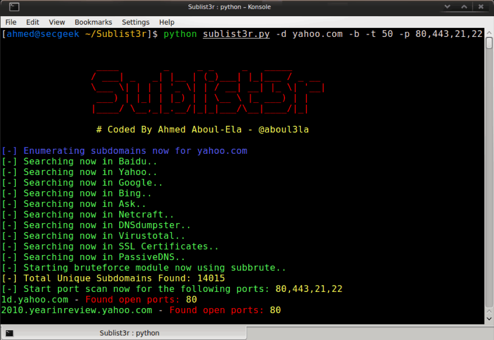 Screenshot of a Sublist3r query