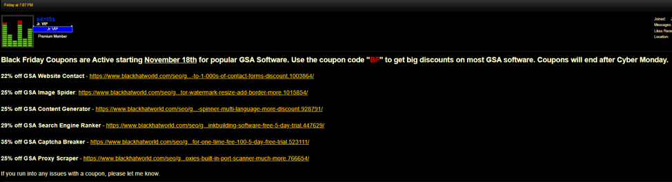 GSA software coupons on blackhatworld black friday