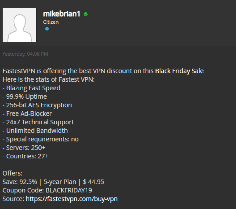 VPN and proxy deals on breachforums black friday 2