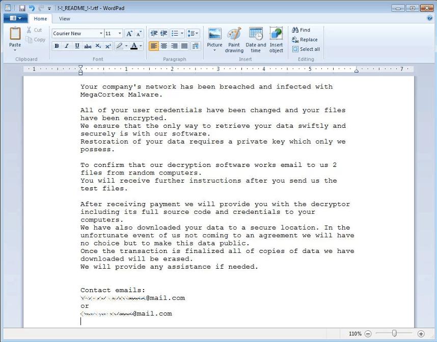 megacortex ransom note