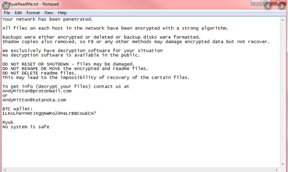 Ryuk ransomware note example