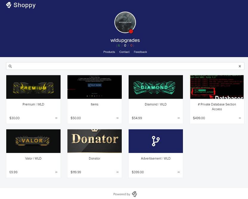 WeLeakData membership upgrades for sale on Shoppy