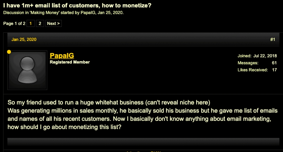 Discussion on BlackHatWorld about monetizing email list 1