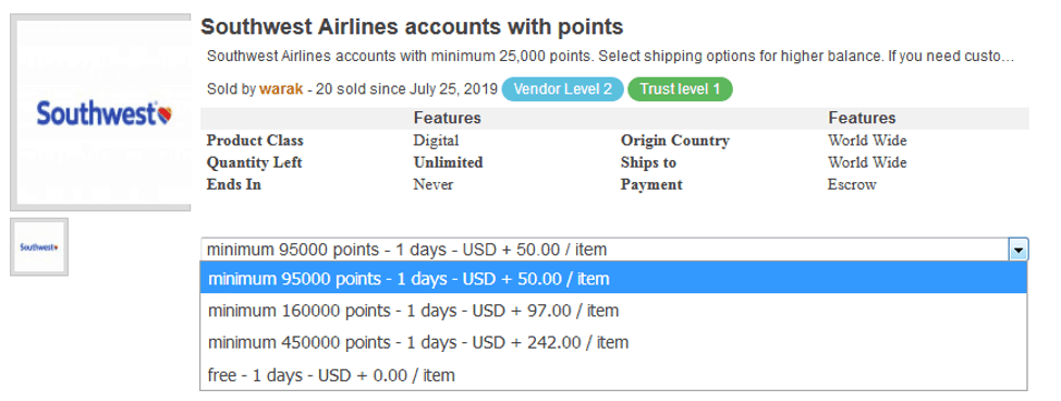 southwest airlines dark web points for sale