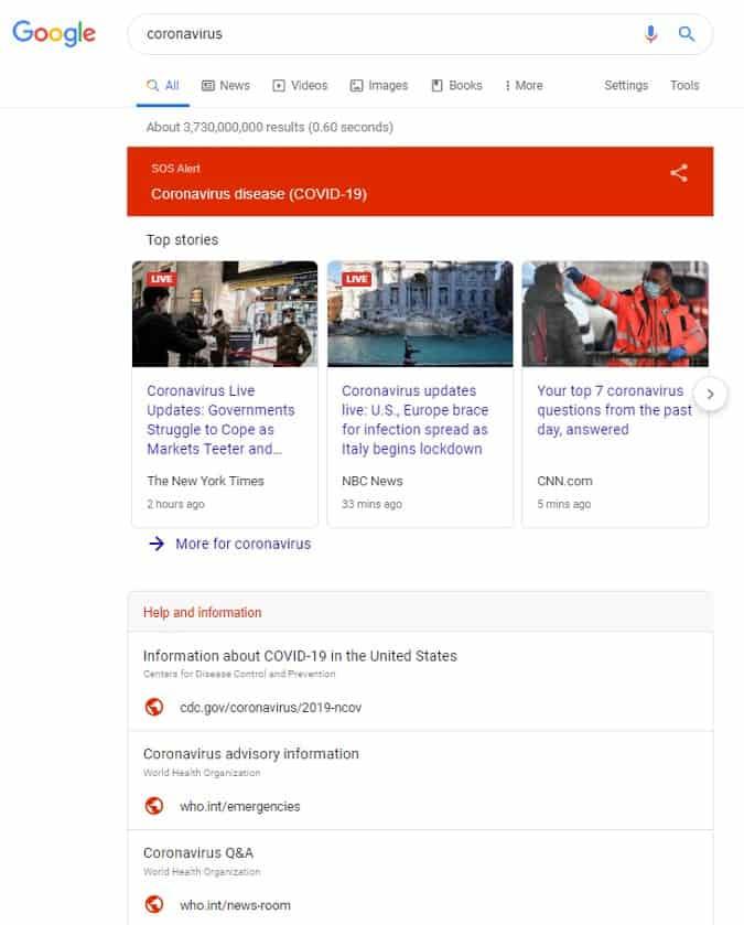 COVID-19 alert on google