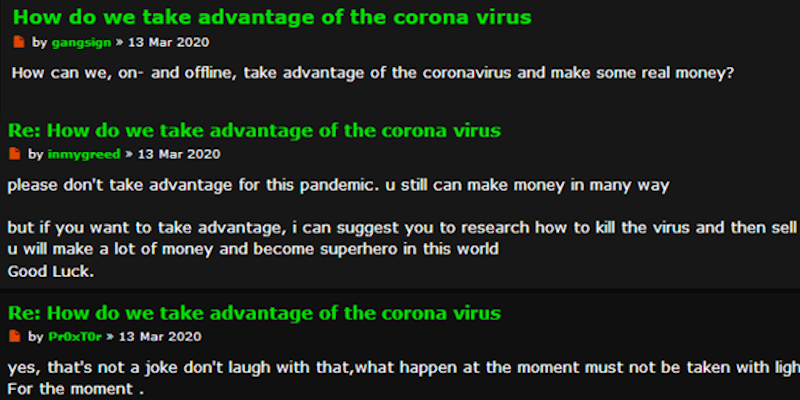 COVID-19: Dark Web Reactions