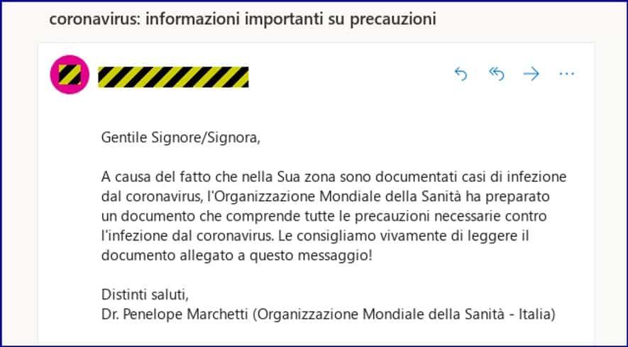 italian phishing email COVID-19