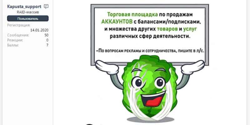 Kapusta.World: The fiendish cabbage exemplifying cybercriminal marketing in the modern era