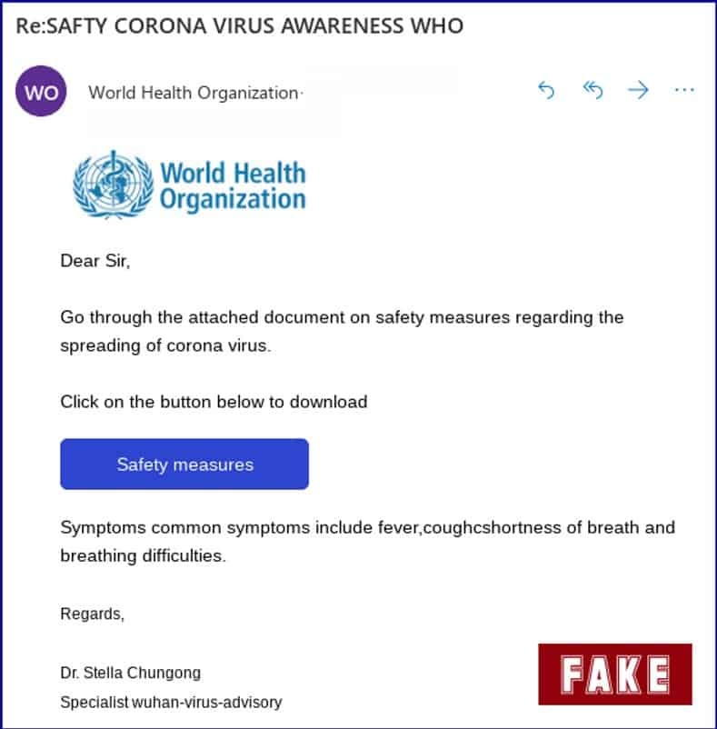 phishing scam impersonating WHO