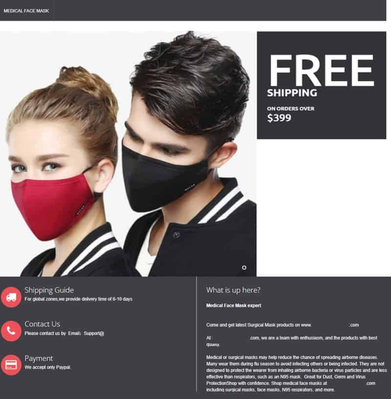 website selling discounted masks