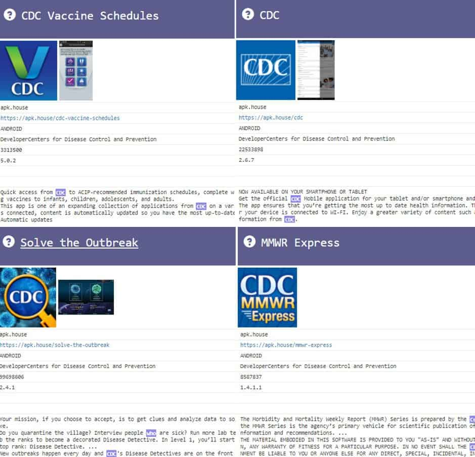 CDC mobile apps ingested by SearchLight™