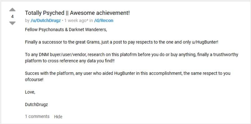 Positive feedback from Dread user DutchDrugz