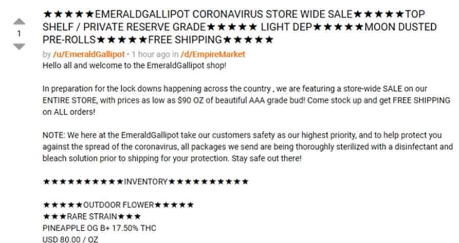 Vendor announcing store-wide sale on Dread