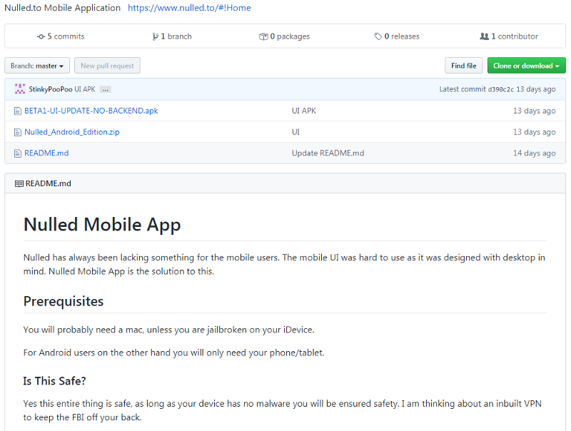 GitHub page outlining the premise of the Nulled app