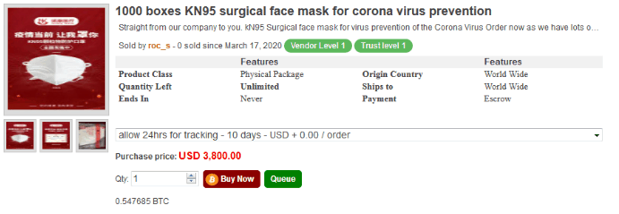 Face masks and chloroquine for sale on Empire market