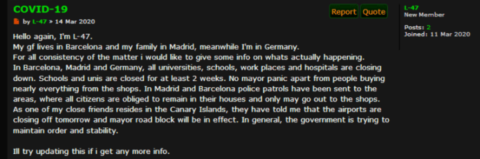 User on Torum talking about the impact of the virus in Spain and Germany