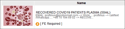 Advertisement for a recovered patient's plasma on Empire marketplace