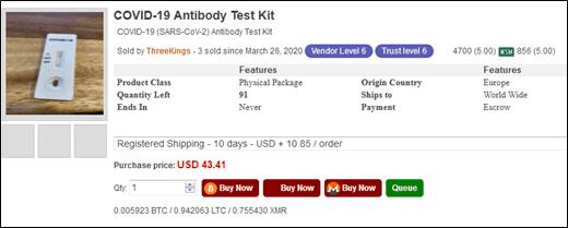 COVID-19 antibody test kit advertised on Empire marketplace