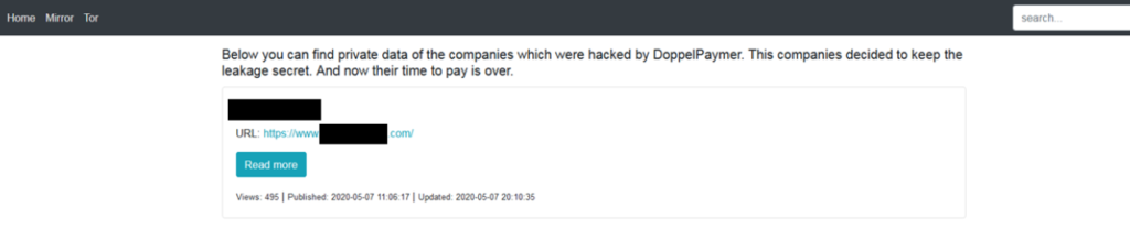 Screenshot of the DoppelPaymer leak site