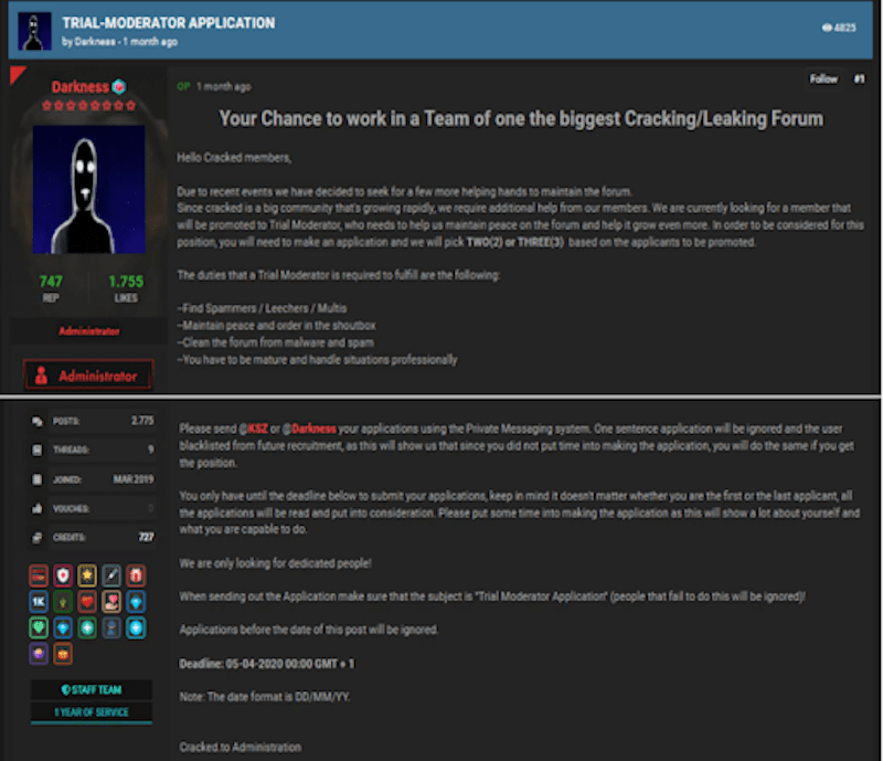 CrackedTO forum administrator's post calling for new trials moderators