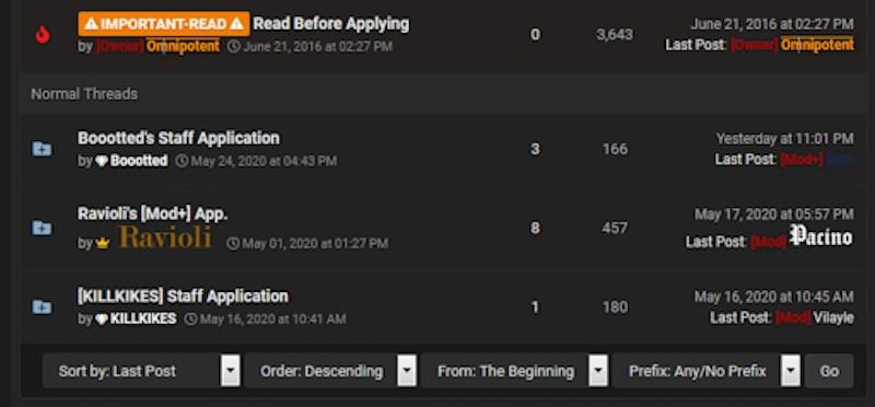 RaidForums's moderator recruitment section showing active applications