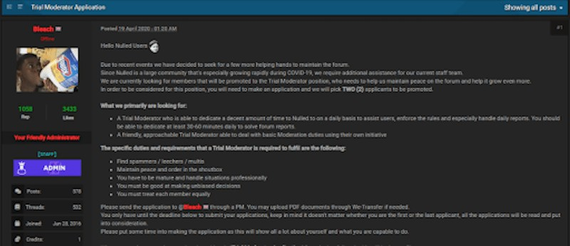 Nulled forum administrator's post calling for new trials moderators