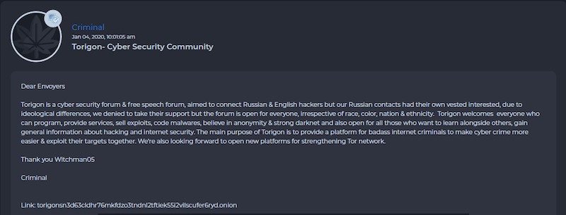 """Torigon admin stating that the forum had """"ideological differences"""" with their Russian counterparts"""