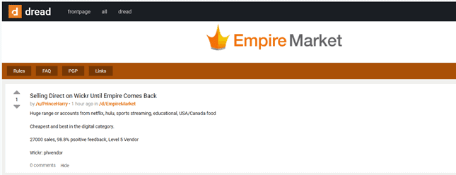 Trade on Wickr until Empire's return