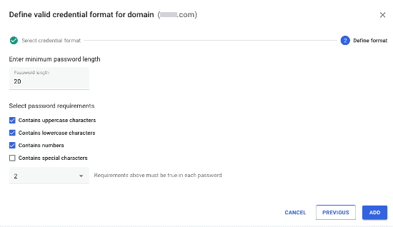 SaerchLight Password Format