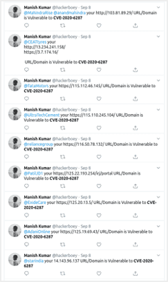Tweets referencing vulnerability services