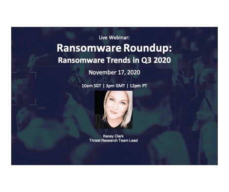 Recorded Webinar:  Ransomware Roundup: Ransomware Trends in Q3 2020