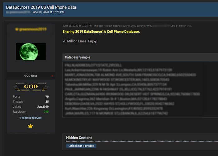 RaidForums user sharing large US phone database
