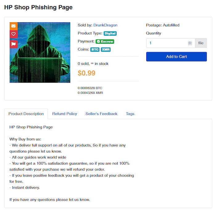 Tor2Door user offering an HP Shop phishing page