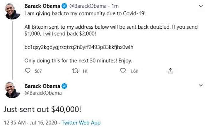 Screen capture of Barack Obama's compromised account
