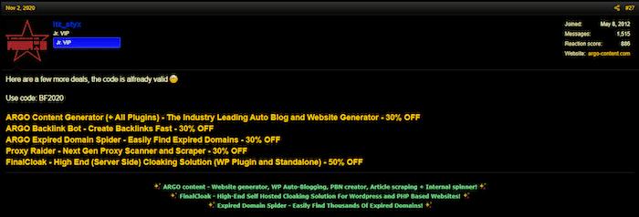 BlackHatWorld user offering Black Friday discount codes