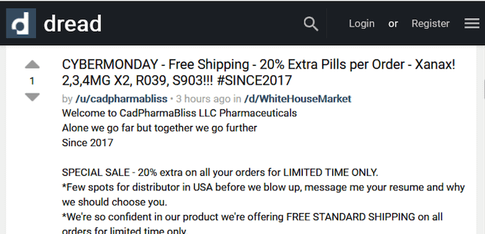 Discounted drugs listing on Dread