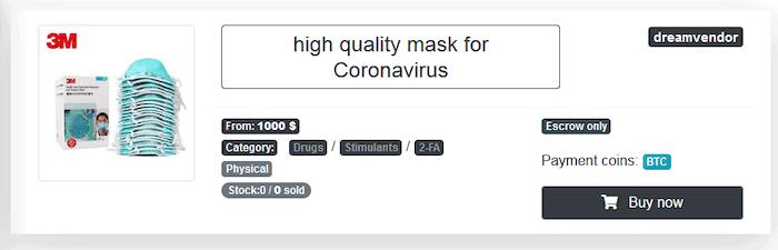 Coronavirus masks advertised on Neptune market