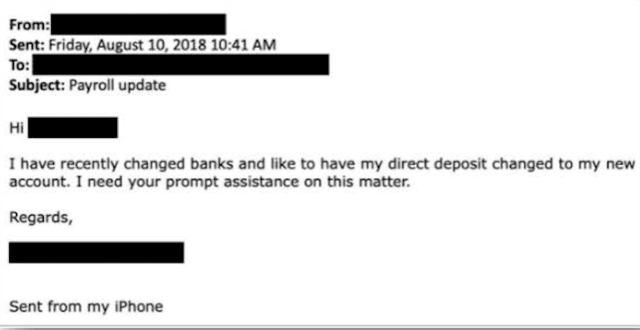 Example of spoofed employee email payroll scam