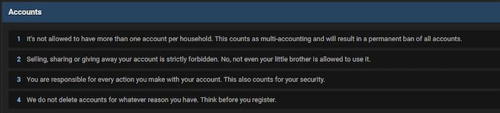 RaidForums account rules