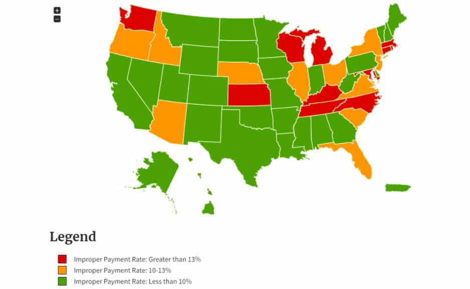 Fig 2: Unemployment insurance payouts accuracy by State