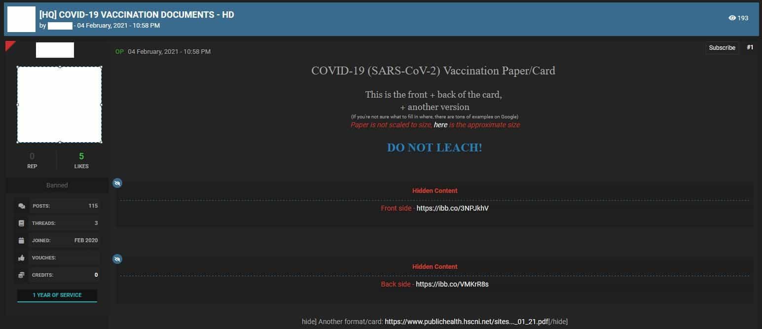 Figure 5. Cybercriminal forum vendor advertises COVID-19 Vaccination cards
